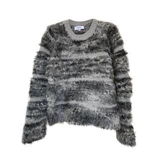 Carven Textured Stripe Grey Marl Knitted Jumper