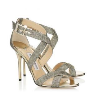 Jimmy Choo Lottie Light Bronze Lame Glitter Sandals