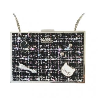 Karl Lagerfeld Embellished Tweed Box Clutch