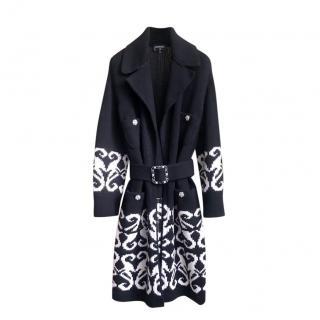 Chanel Black & White Intarsia Knit Wool & Cashmere Coat