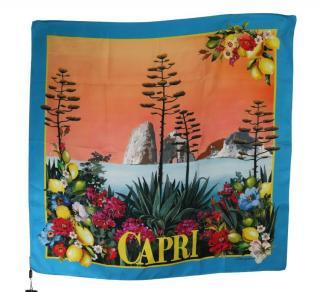 Dolce & Gabbana Capri Print Silk Printed Scarf