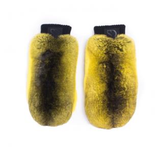 FurbySD Yellow & Black Chinchilla Fur & Leather Mittens