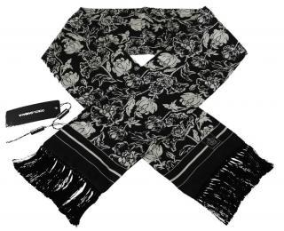 Dolce & Gabbana Black & White Floral Fringed Scarf
