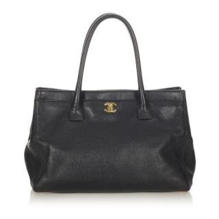 Chanel Executive Cerf Black Caviar Leather Handbag