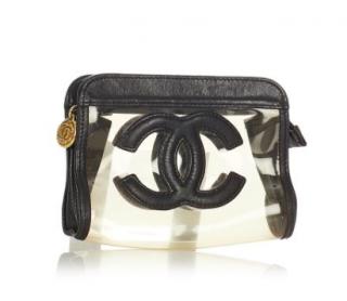 Chanel Black Leather Trim Vinyl CC Cosmetic Pouch