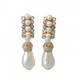 Dolce & Gabbana Faux Pearl Crystal Drop Earrings