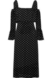 Ganni Polka Dot  Monette Cold-Shoulder Dress
