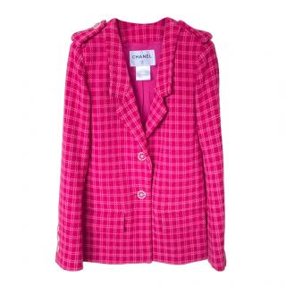 Chanel Paris/Seoul Pink Check Tweed Jacket