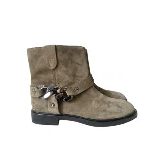 Casadei Suede Chain Detail Ankle Boots