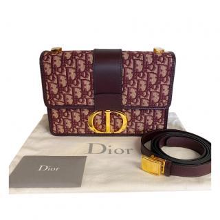 Dior Burgundy Oblique Monogram Montaigne Flap 30 Shoulder Bag