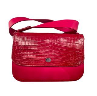Loro Piana Red Crocodile & Calfskin Shoulder Bag