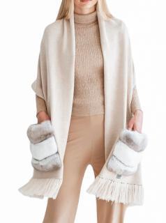 FurbySD Cream Merino Wool & Chinchilla Fur Wrap