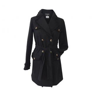 Chanel rare black double breasted cotton trench coat