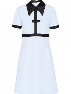 Miu Miu Black/Blue Cady Contrast Dress