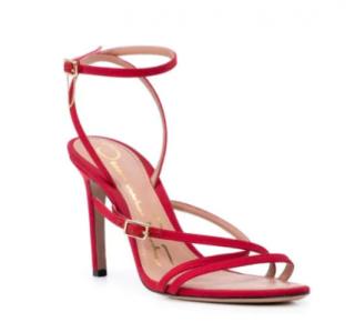 Oscar De La Renta Red Satin Strappy Sandals