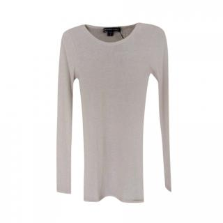 James Perse Cashmere Ribbed Knit LS Top