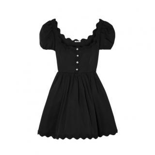 MIu MIu Scalloped crystal-embellished cotton-poplin mini dress