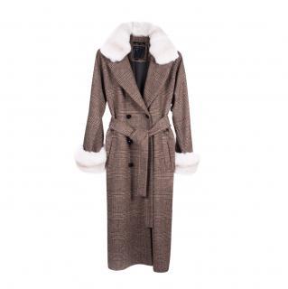 FurbySD Chinchilla Fur Trim Check Wool Coat