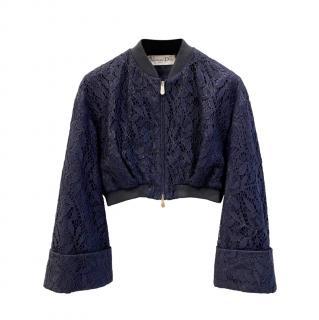 Dior Blue & Black Lace Cropped Bomber Jacket