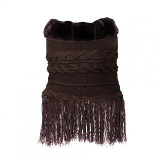 FurbySD Merino Wool Cable Knit Fringed Bolero