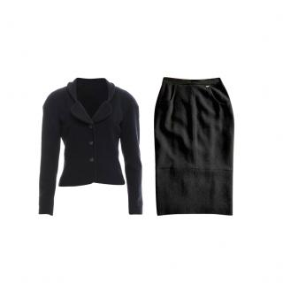 Chanel Cruise Black Tweed Classic Skirt Suit