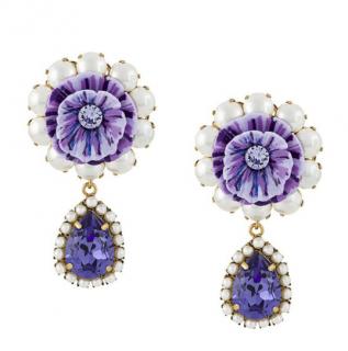 Dolce & Gabbana Purple Floral Embellished Drop Earrings