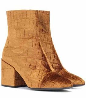 Dries Van Noten Velvet Croc Effect Ankle Boots
