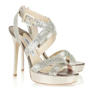 Jimmy Choo Champagne Glitter Vamp Sandals