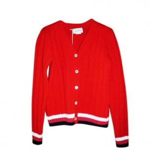 Gucci Kids 6Y Red Cable Knit Cardigan