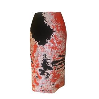 MSGM Orange & Black Jacquard Pencil Skirt
