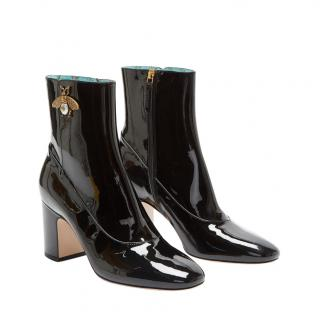 Gucci Black Patent Bee Applique Ankle Boots
