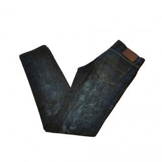 Gucci Floral Denim Straight Leg Slim Jeans