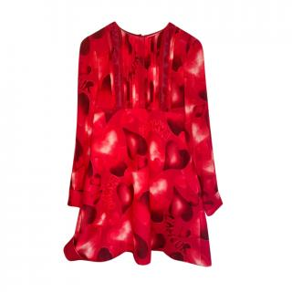 Valentino Red L'Amoure Heart Print Dress