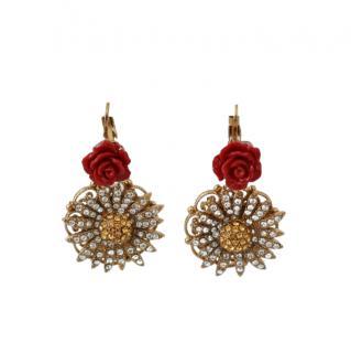 Dolce & Gabbana Crystal Pendant Rose Drop Earrings