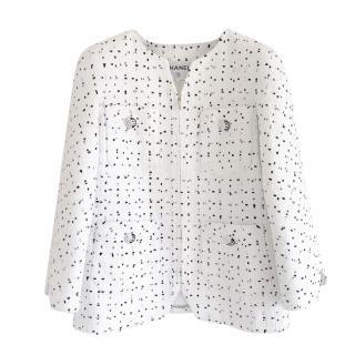 Chanel White & Black Woven Tweed Runway Jacket