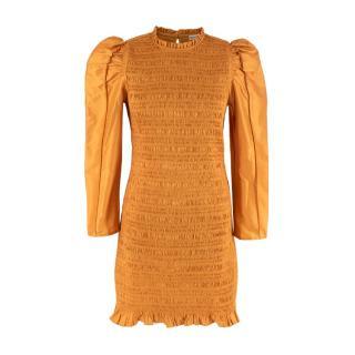Ulla Johnson Ochre Silk Blend Smocked Mini Dress