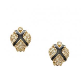 Dior Vintage Gold Tone Crystal Embellished Enamel Clip-On Earrings