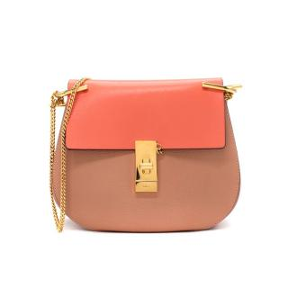 Chloe Medium Drew Bicolour Pink & Coral Grained Leather Crossbody Bag