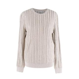 Herve Leger Metallic Silver Textured Ribbed Sweater