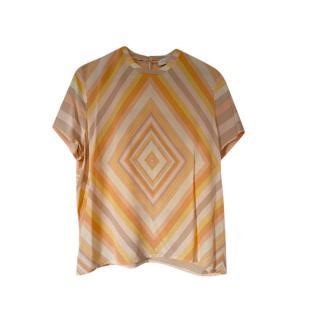 Valentino Silk Geometric Print Top