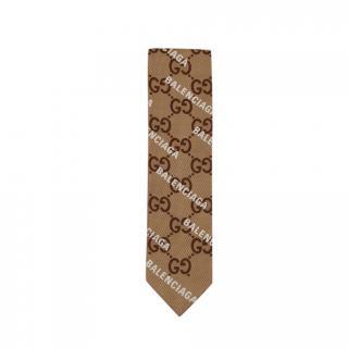 Gucci x Balenciaga Monogram Silk Twilly Scarf