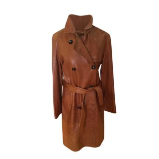 Burberry Prorsum Tan Leather Belted Trench Coat
