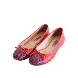 Prada Croc Embossed Bi-Colour Ballerinas