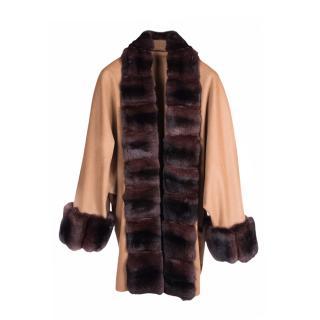 FurbySD Chinchilla Fur Trim Wool Coat