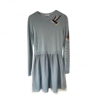 REDValentino Blue Hummingbird Dress