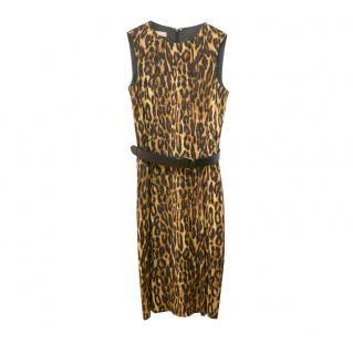 Michael Kors Leopard Print Sleeveless Sheath Dress