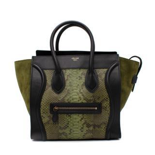Celine Mini Luggage Black Leather & Green Python Tote Bag