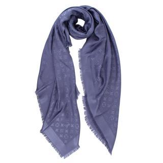 Louis Vuitton Blue Silk & Wool Blend Monogram Shawl
