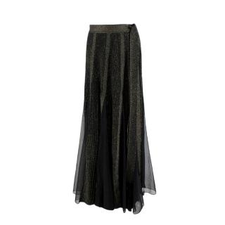 Elie Saab Black & Gold Sparkle Panelled Mesh Maxi Skirt