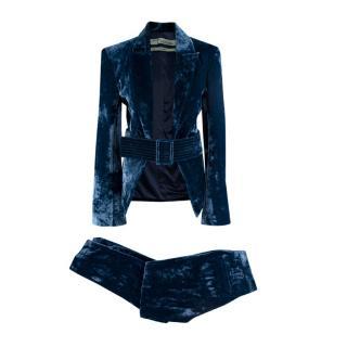 Off-White Petrol Blue Crushed Velvet 2 Piece Trouser Suit Set
